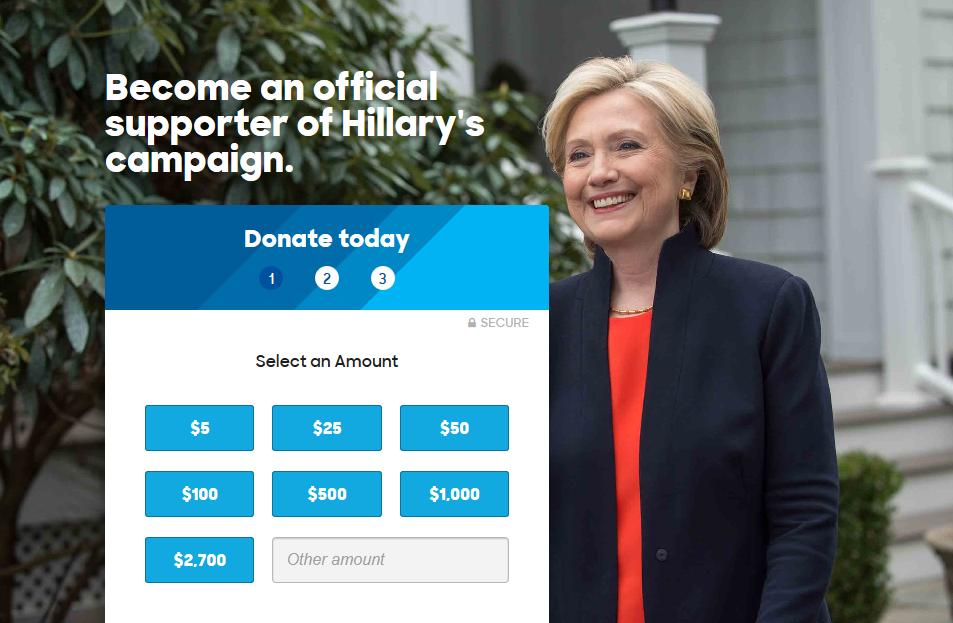 Collecte de dons campagne presidentielle hillary clinton digital digitalebox regionales