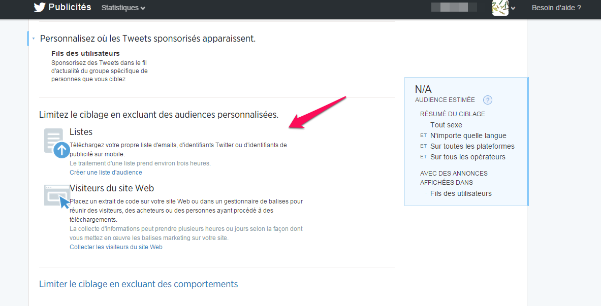 custom audience pour twitter