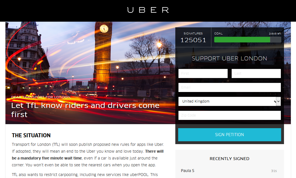 Petition Uber lobbying digitalebox social media