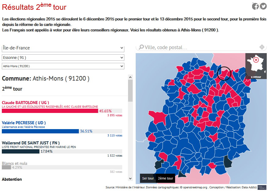 Athis Mons Essonne resultats regionales 2015 legislatives circonscription digitalebox
